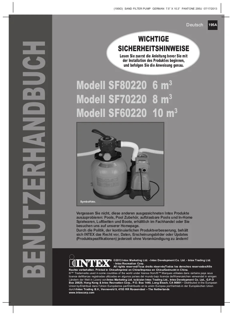 Intex Pool Sandfilterpumpe Volt 220-240 Sandfilteranlage Benutzerhandbuch Intex Pool Shop