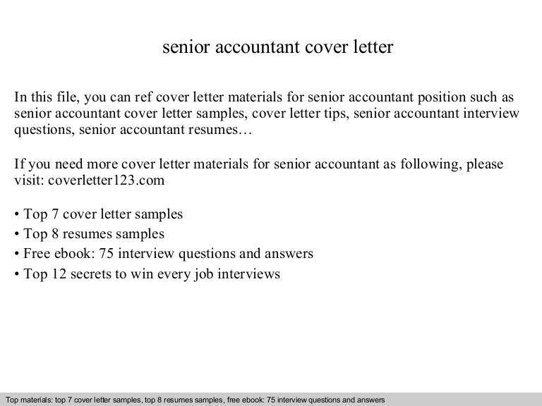 senior accountant cover letter - Intoanysearch