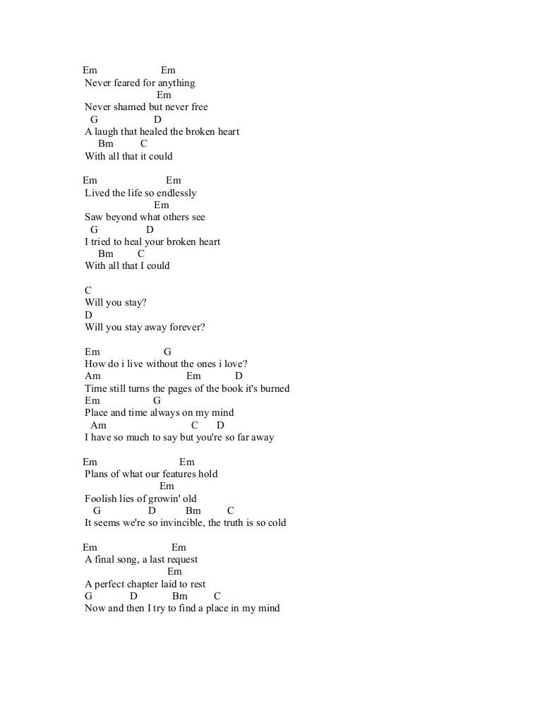 Chord Lagu So Far Away A7X - LTT