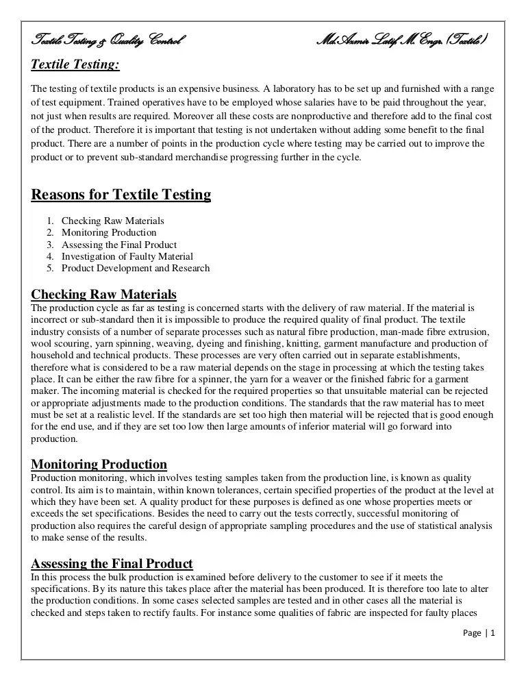 textile quality control resume