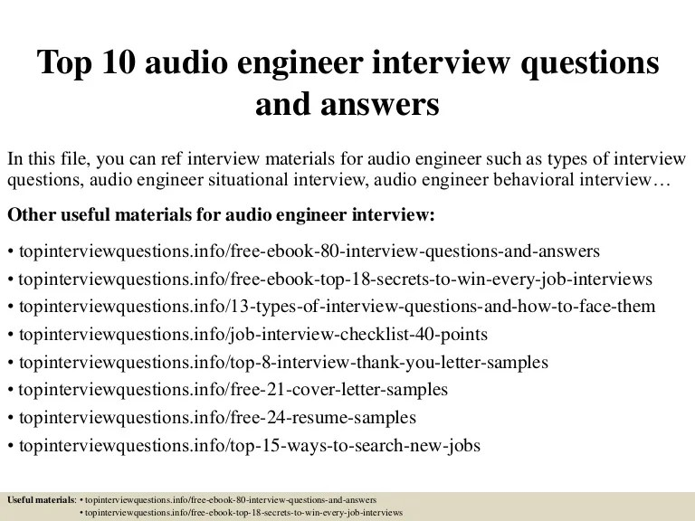 audio engineer cover letter - Josemulinohouse