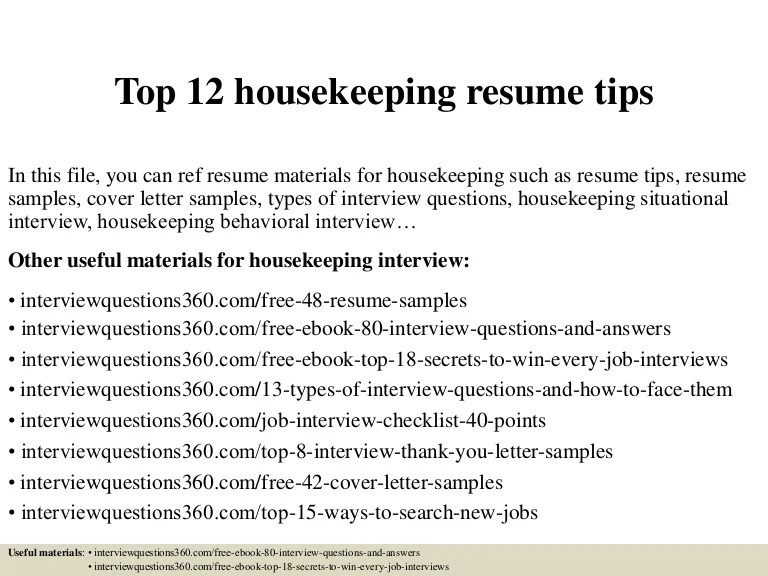 Housekeeper Resume Sample. Housekeeping Resume Example. Cover .
