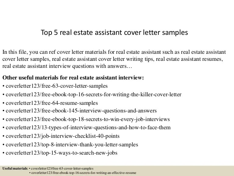 cover letter for real estate assistant - Josemulinohouse - real estate cover letter samples