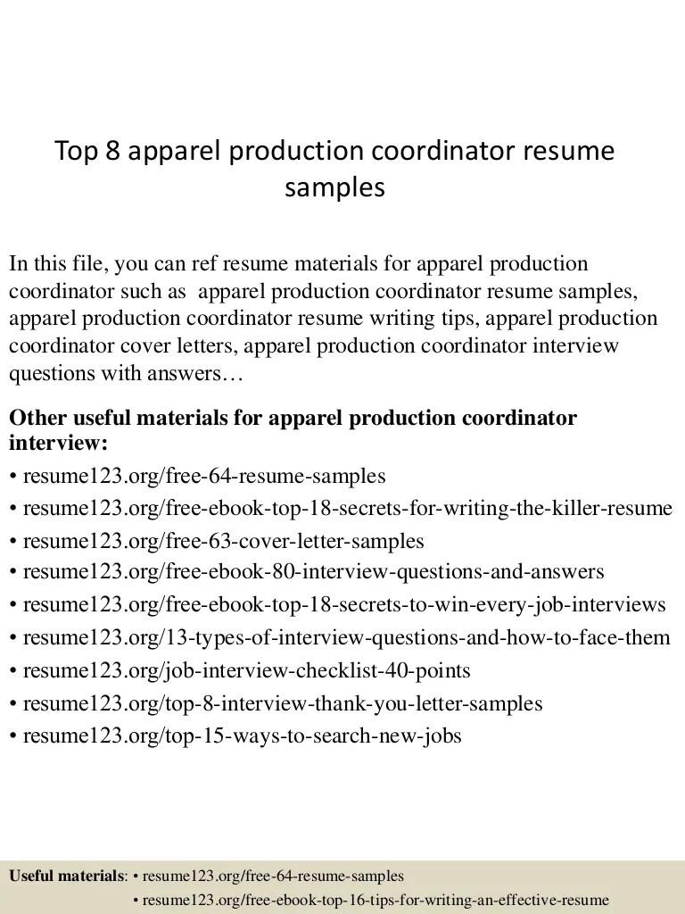 apparel production coordinator resume samples