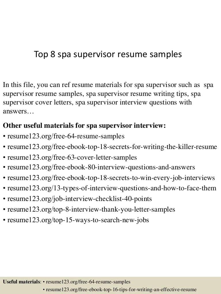 spa supervisor resume samples