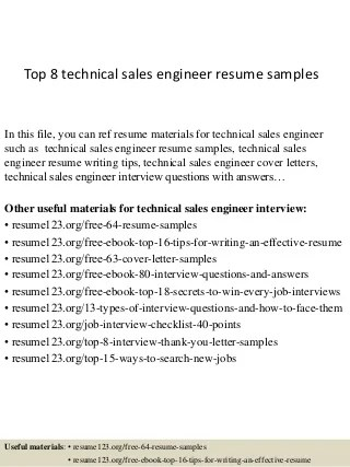 Resume for technical sales engineer