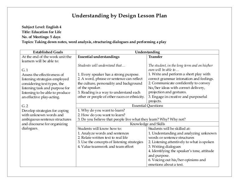 ubd lesson plan template word - Pinarkubkireklamowe
