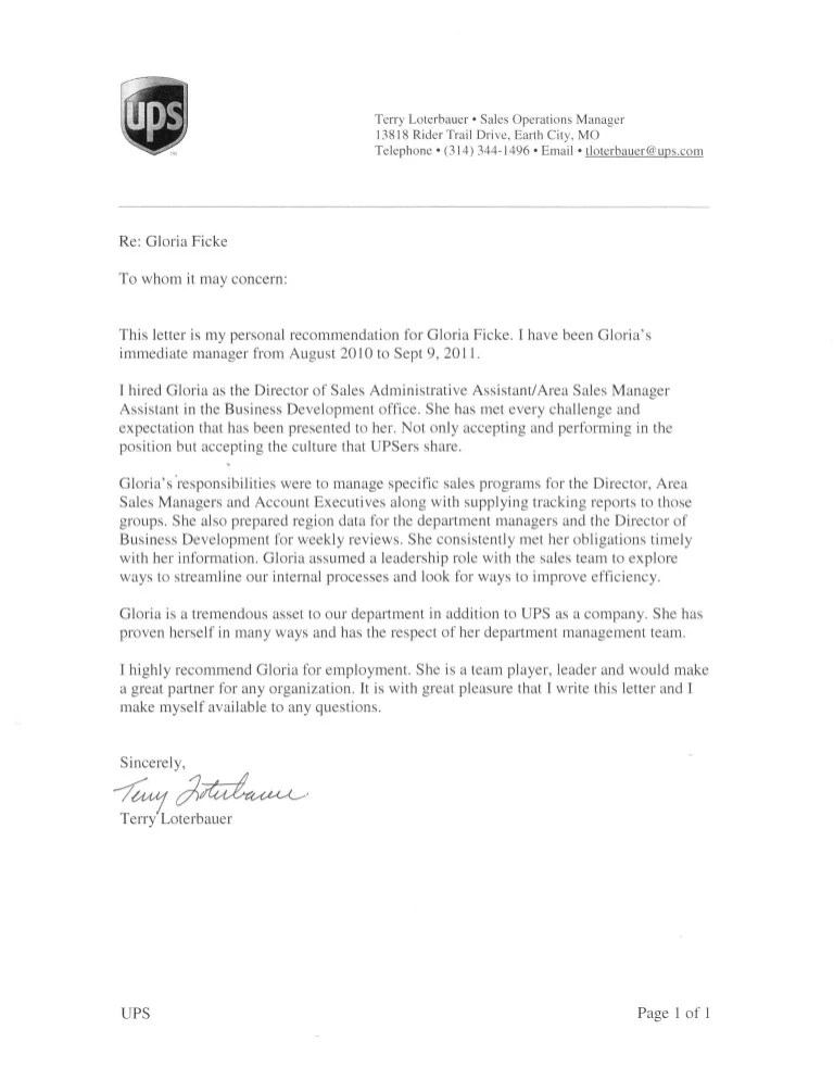 executive letter of recommendation