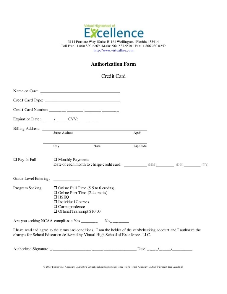 credit card release form - Yenimescale - credit card authorization forms