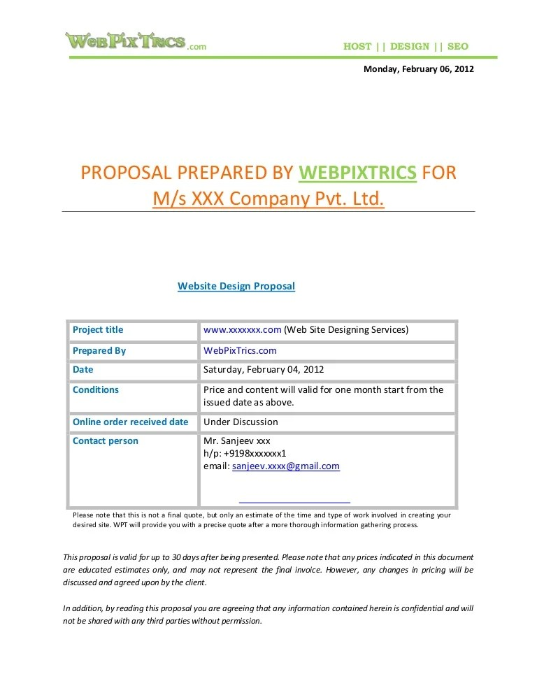 sample proposal letter for website design