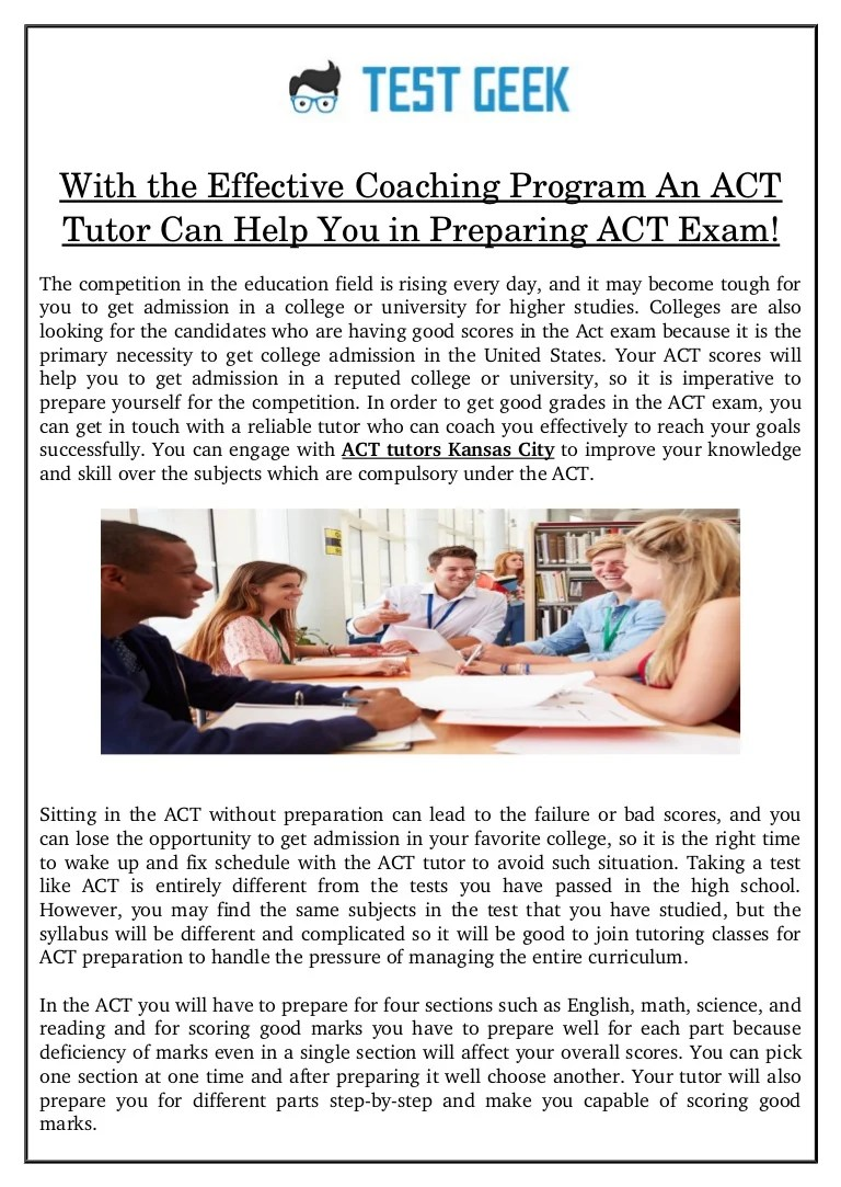 Act Tutor With The Effective Coaching Program An Act Tutor Can Help You In Prep