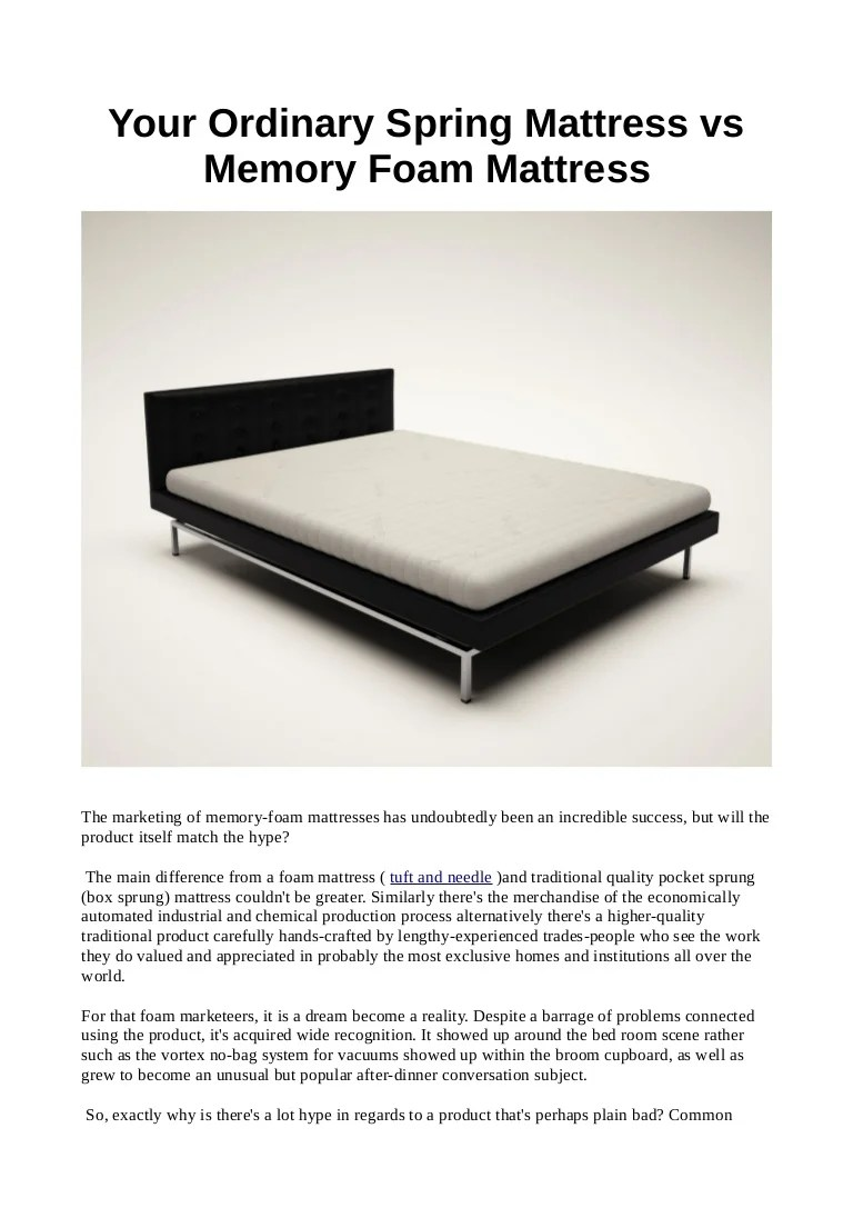Single Pocket Sprung Memory Foam Mattress Your Ordinary Spring Mattress Vs Memory Foam Mattress