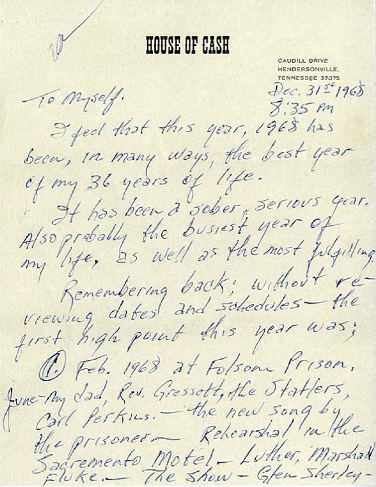 Johnny Cash Pool Song Johnny Cash S Letter To Himself December 31 1968 Johnny Cash
