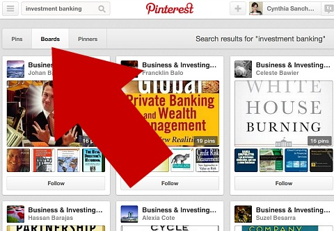 search for boards in your niche on pinterest