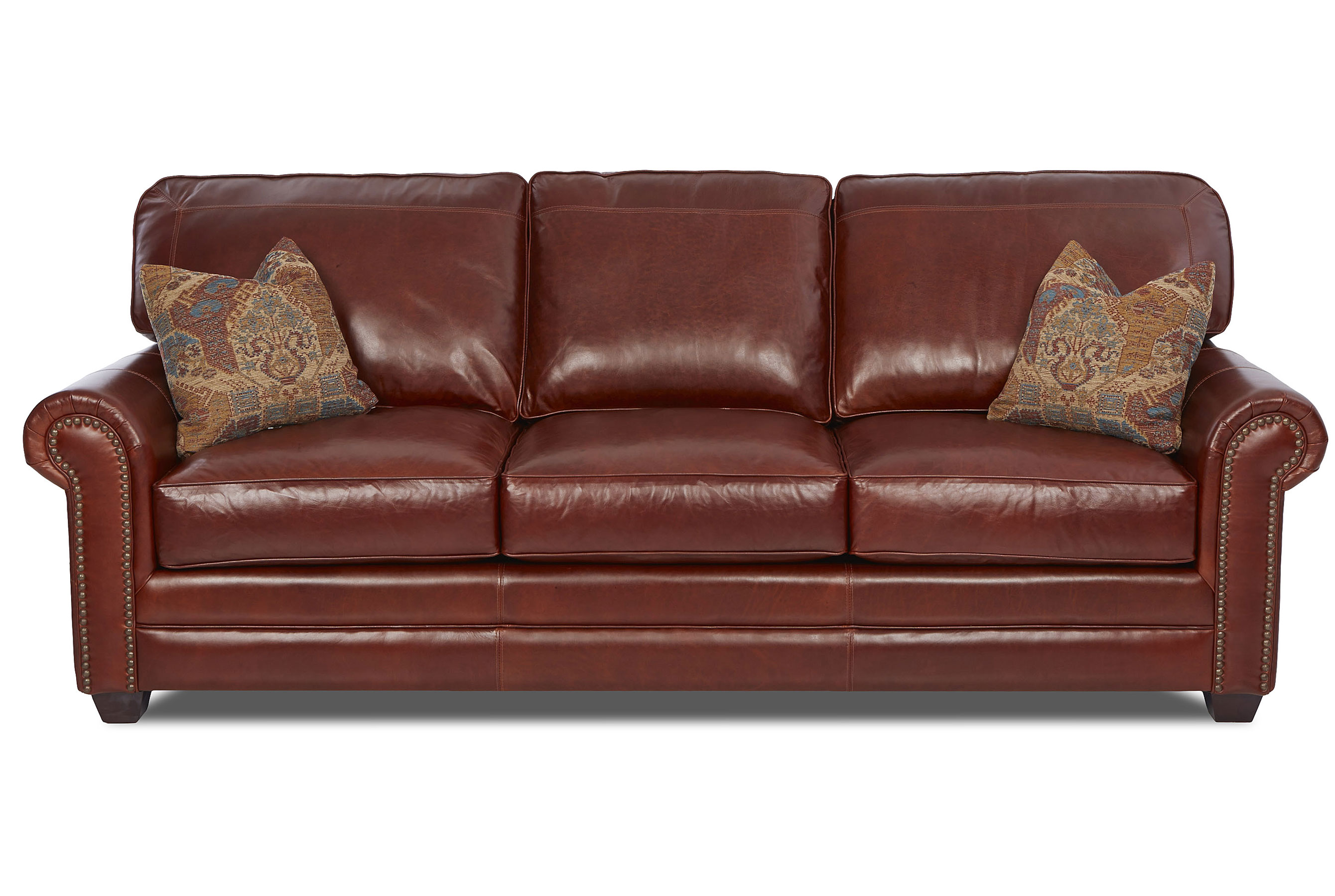 Epic Stationary Nailhead Leather Sofa Sofas And Sectionals