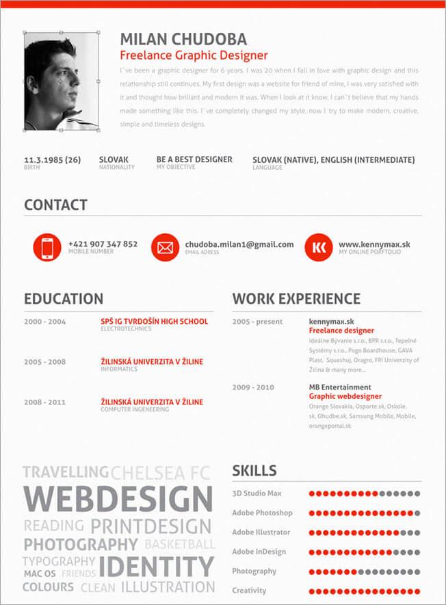 example of freelance work on resume