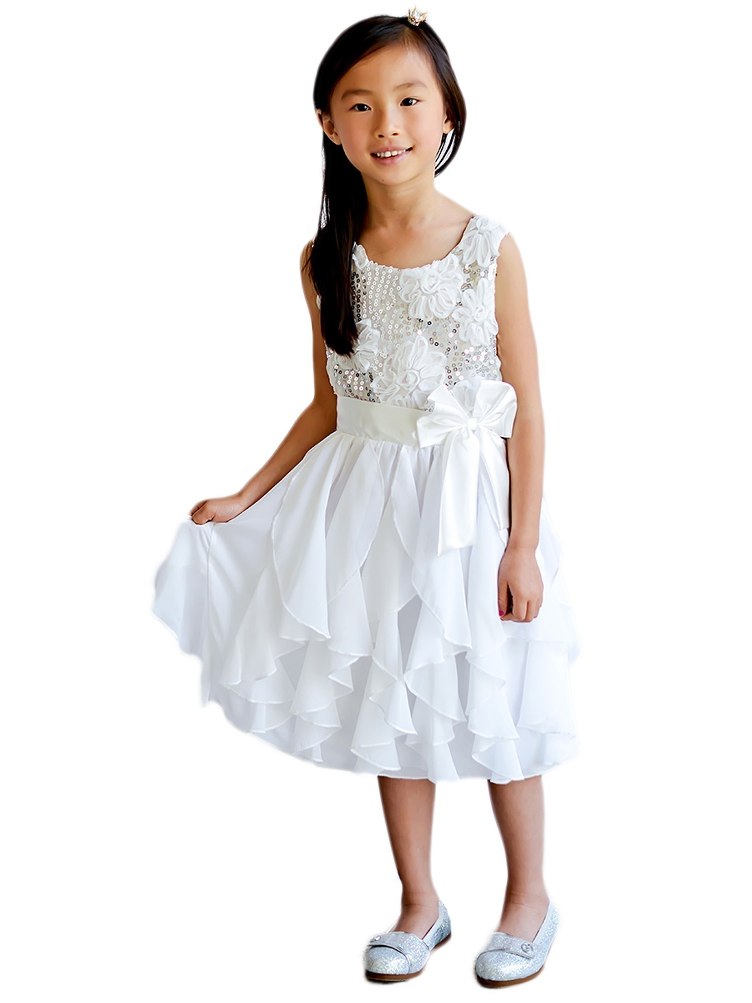 Piece Unik Unik Little Girls White Sequin 3d Floral Bow Ruffled Easter Flower Girl Dress 2