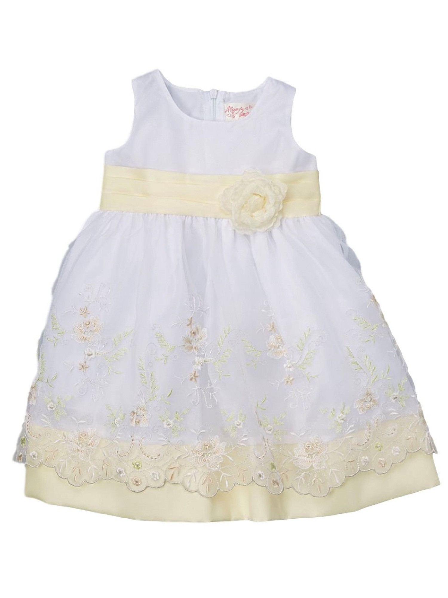 Piece Unik Unik Big Girls Ivory Floral Embroidered Sash Easter Junior Bridesmaid Dress 8 10