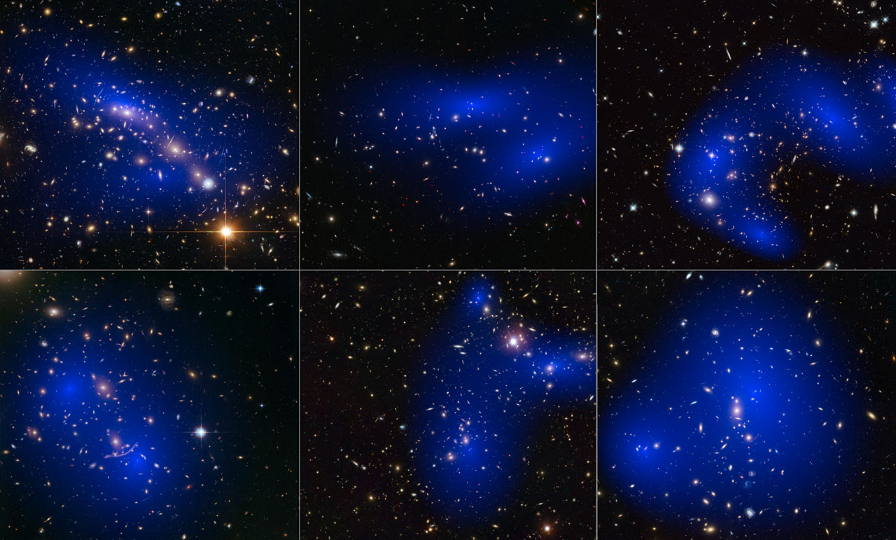 3d Wallpaper Solar System Collage Of Six Cluster Collisions With Dark Matter Maps