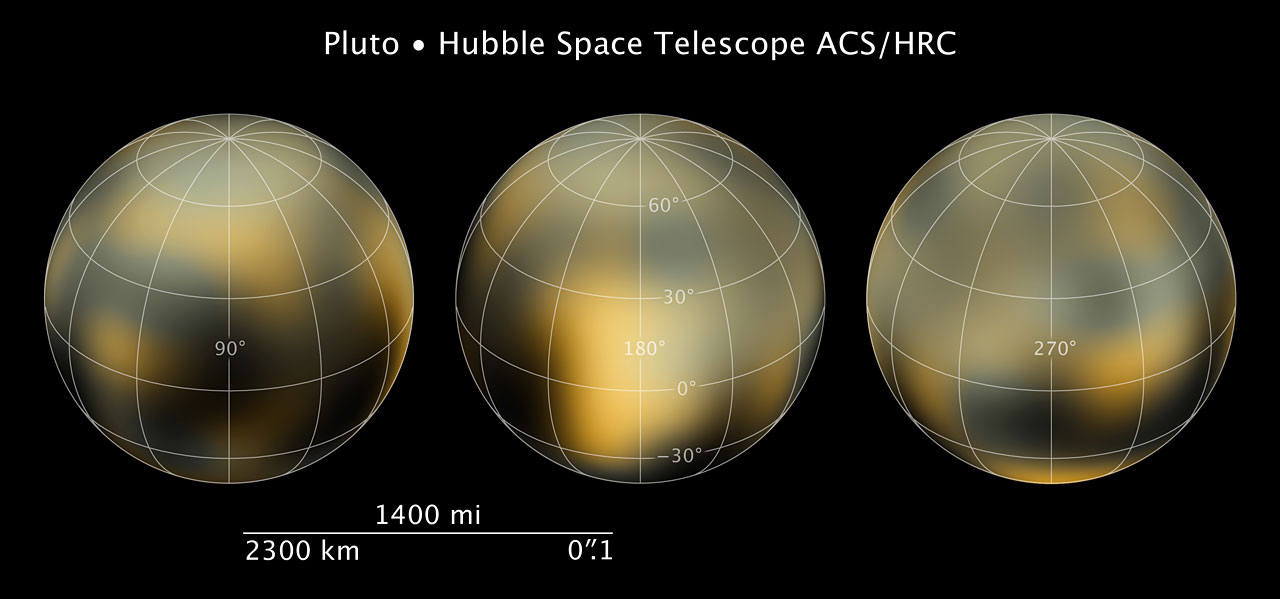 Compass and scale image for Pluto ESA/Hubble
