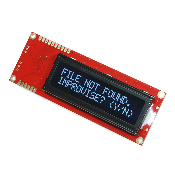 Serial Enabled 16x2 LCD - White on Black 5V - LCD-09395 - SparkFun