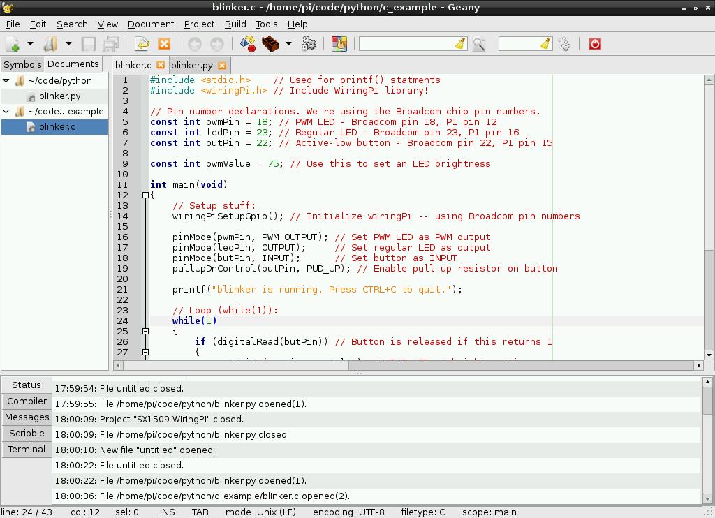 wiringpi c code examples