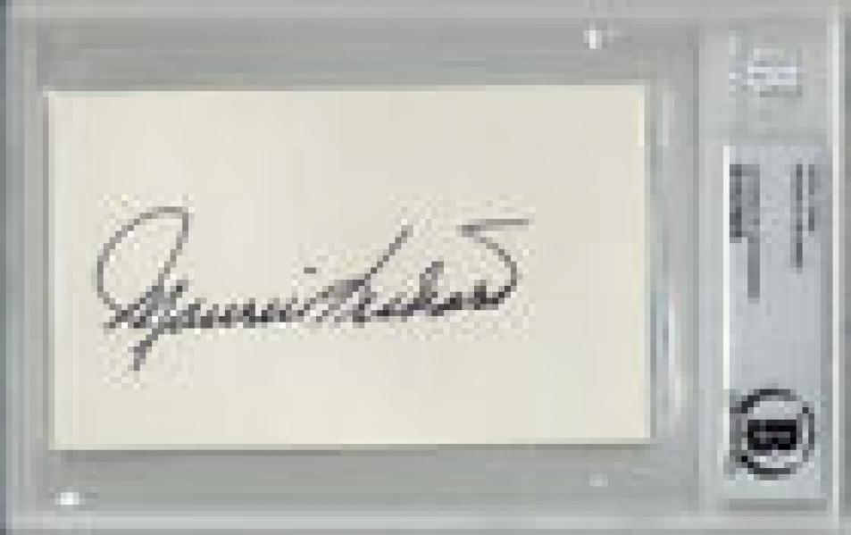 MAURICE RICHARD SIGNED 3x5 INDEX CARD CANADIENS LEGEND ENCAPSULATED