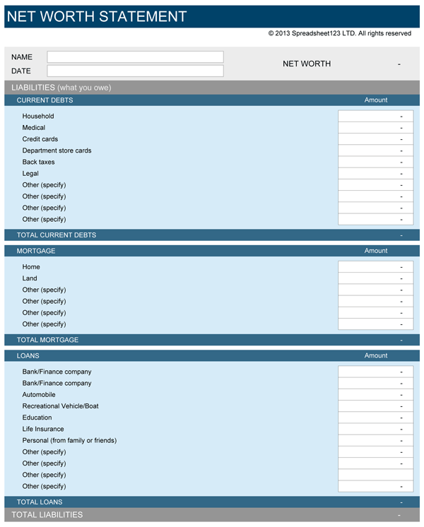 personal assets and liabilities statement template