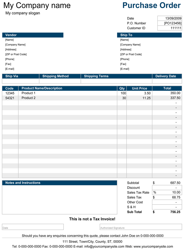 purchasing forms template