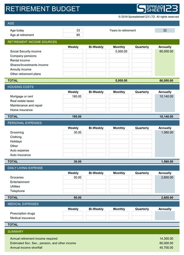 retirement planning xls