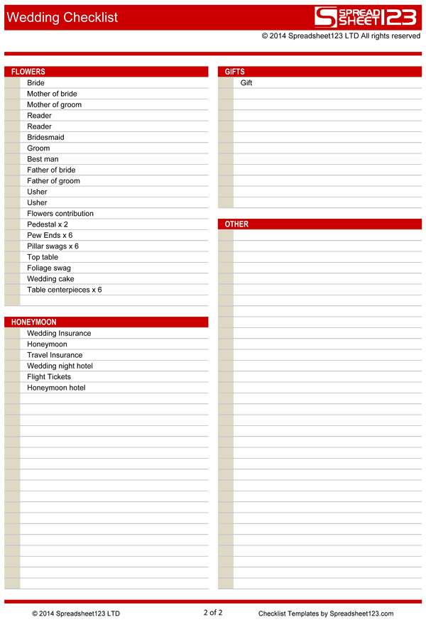 Checklist Templates Create Printable Checklists With Excel Wedding Checklist Free Template For Excel