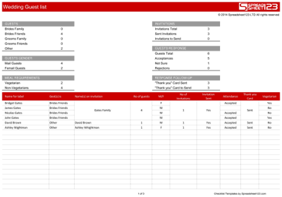 Wedding Guest List | Free Template for Excel