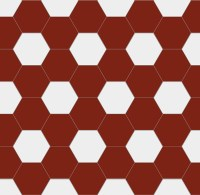 Hexagon floor tiles 15 x 15 cm red/white