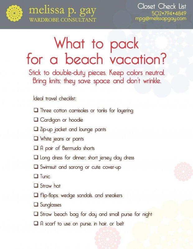 checklist for beach vacation - Kenicandlecomfortzone
