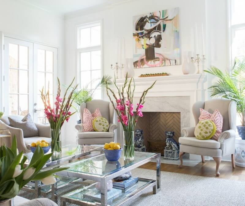 A painting by Atlanta artist Sally King Benedict creates a colorful focal point in the home's newly expanded living space.