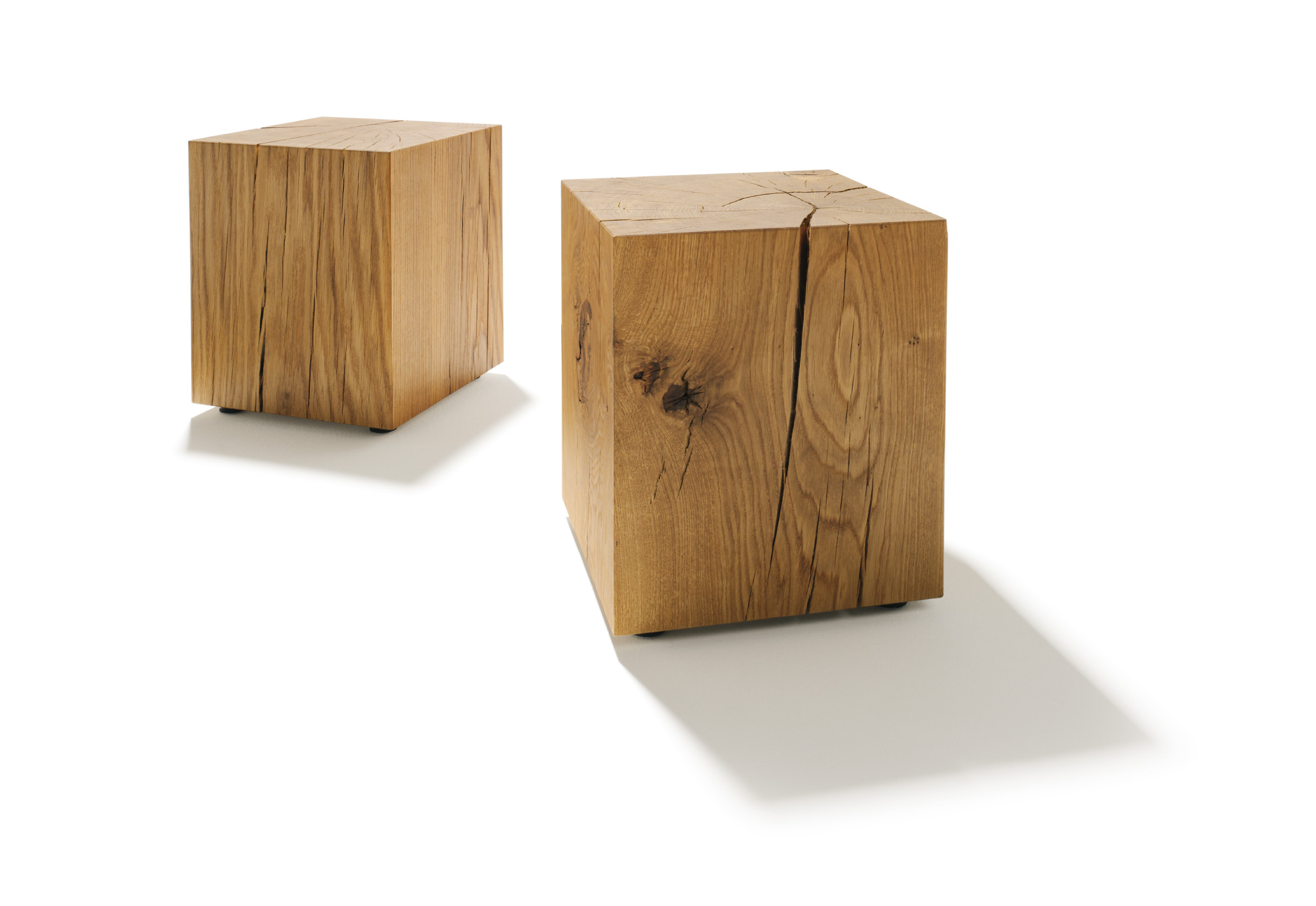 Wood Block End Tables Oak Block By Team 7 Stylepark