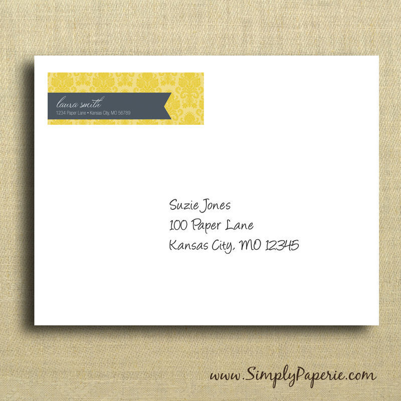 Gold Damask Return Address Labels - Simply Paperie - Address Label