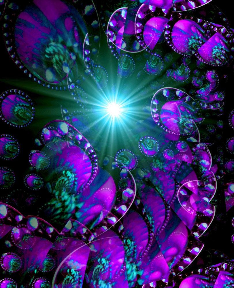 Abstract Art, Purple Wall Decor, Reiki Energy Art Print
