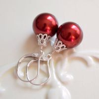 Red Christmas Ball Earrings in Sterling Silver - livjewellery