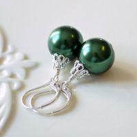 Green Christmas Ball Earrings in Sterling Silver ...