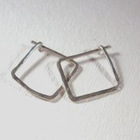 Sterling Silver Square Hoop Earrings Small - Hammered ...