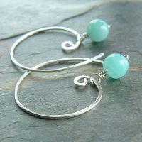 Amazonite Open Hoop Earrings in Sterling Silver - K Davis ...