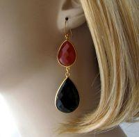 Long Red Black Gemstone Earrings, Black and Red Onyx ...