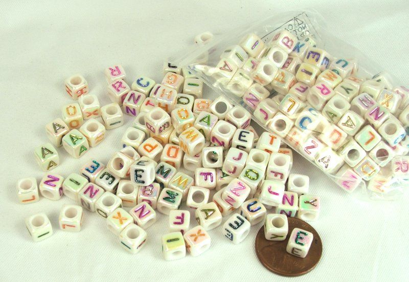 Alphabet Beads with ab finish Cube letter beads - Fleamarket Muse