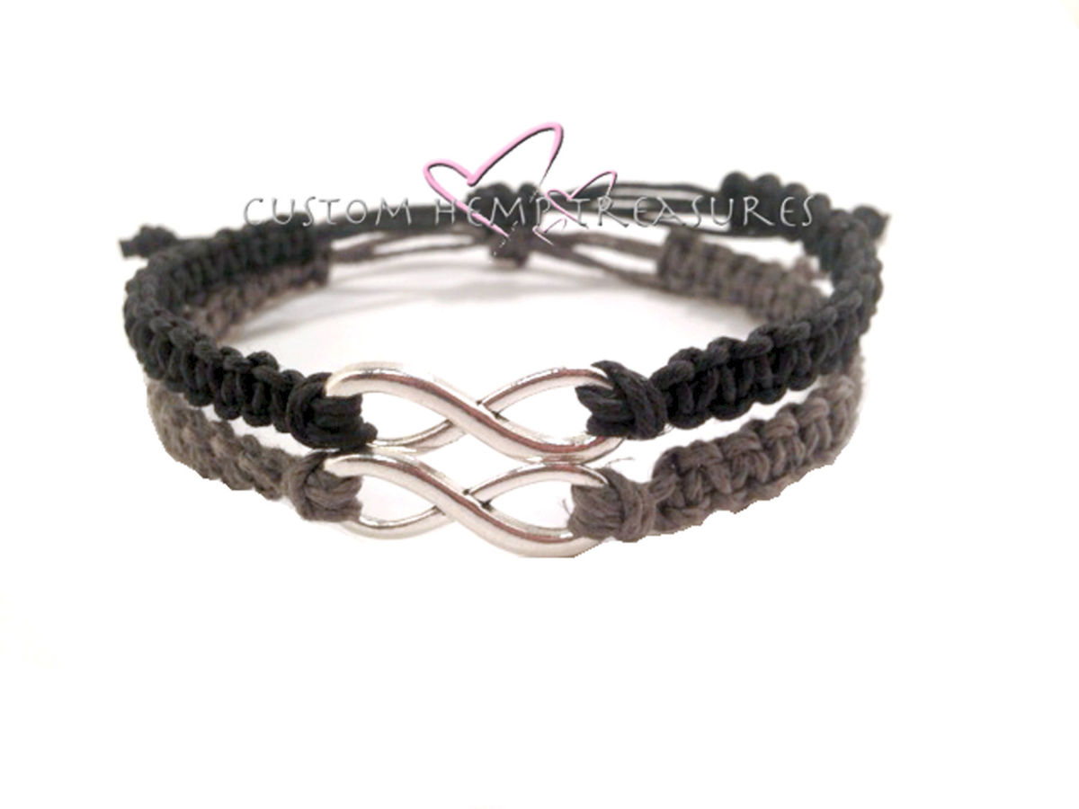 Adjustable Infinity Couples Bracelets Customhemptreasures