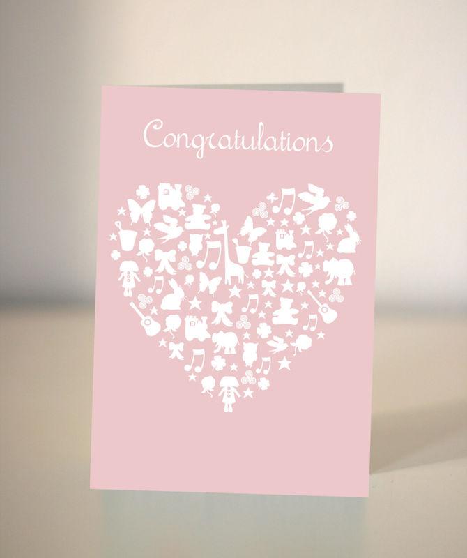 New baby card - it\u0027s a girl - congratulations card - Dickens ink - baby girl congratulations card
