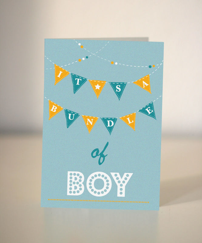 New baby card - bunting card - congratulations it\u0027s a boy - Dickens ink