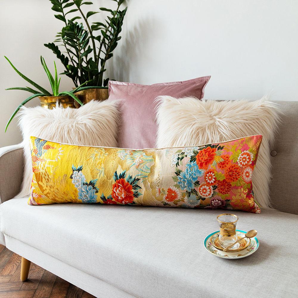 Oriental Bolster Cushion Yellow Gold Floral Brocade