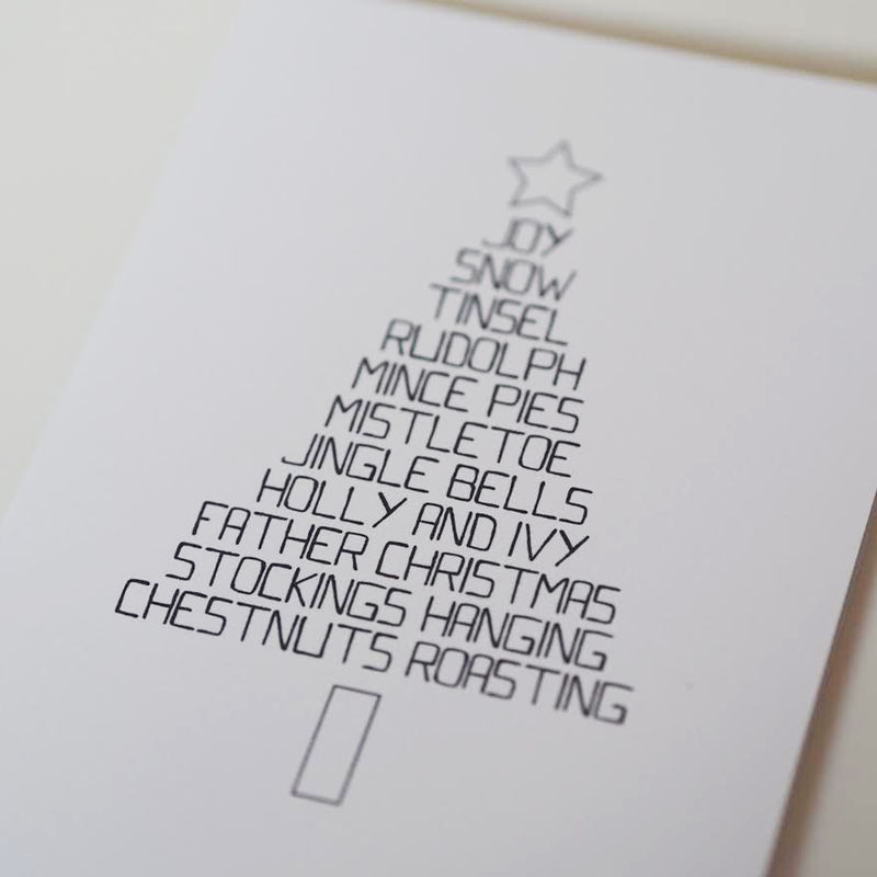 Simple Christmas Tree Word Card - Christmas Tree Card - Typography