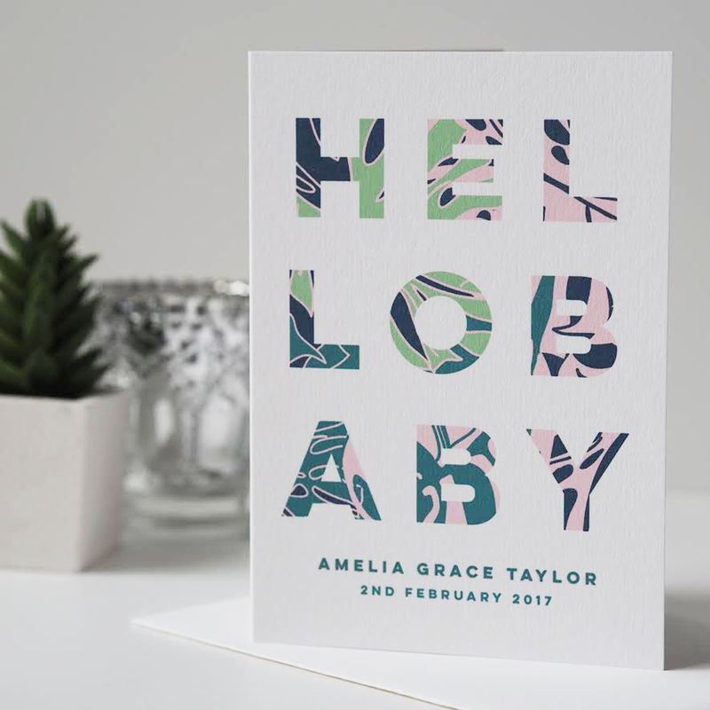 Hello Baby Personalised New Baby Card - Baby Boy Card - Baby Girl